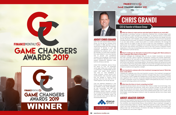 Chris Grandi - 2019 Finance Monthly Game Changers Award