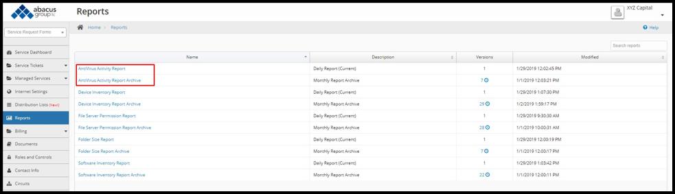 Abacus Client Portal - AV Reports screenshot