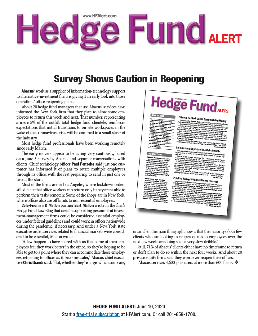 Abacus featured in Hedge Fund Alert article: