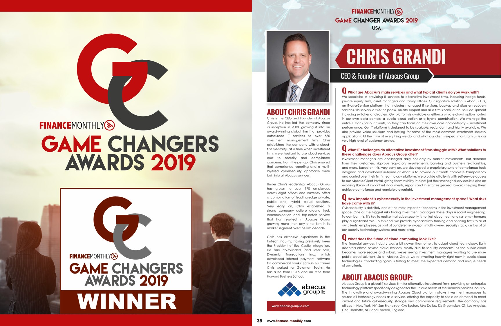 Abacus Group CEO Chris Grandi Named Game Changer by Finance Monthly